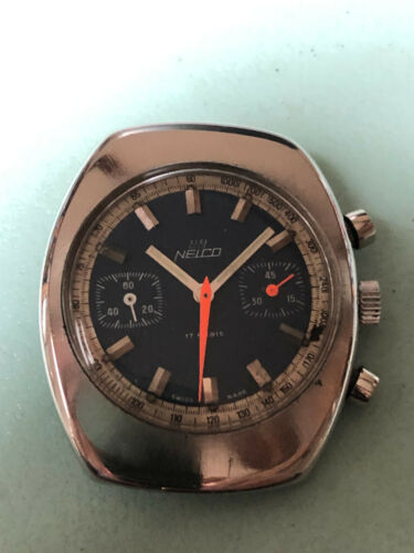 =  Nelco chronograph case + dial + hands    for  Valjoux 7733 - 45'