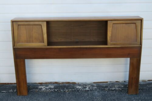 Mid Century Modern Full Queen Size Headboard with Shelf Bookcase by Lane 1814