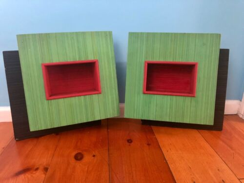 2 MATCHING MID CENTURY MODERN ATOMIC MCM 1940s-1950s SHADOW BOXES~STRIATED WOOD