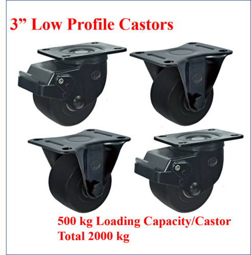 """3""""Low Profile Castor Wheels,2 with Brake & 2 Fixed, 2000kg Total Loading"""