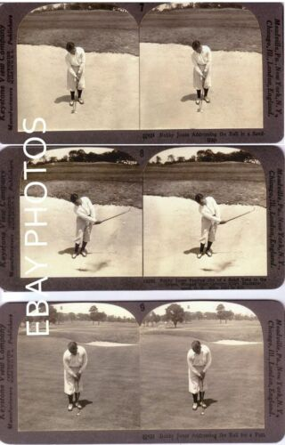 COMPLETE 10 STEREOVIEW GOLF SET BOBBY JONES GOLFER 1929 US.OPEN WING FOOT COPIES