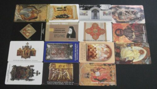 GREECE LOT 15 DIFFERENT GREEK PHONECARDS WITH THEME: RELIGIOUS USED GRIECHENLAND