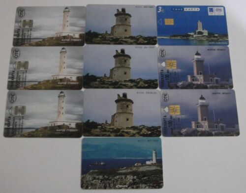 GREECE 10 DIFFERENT PHONECARDS WITH THEMA: lighthouse, GRIECHENLAND GRECE GRECIA