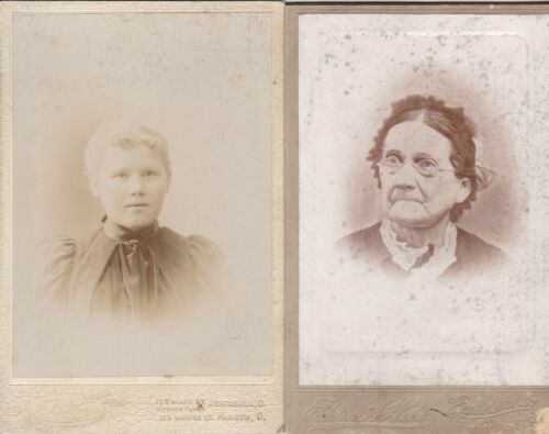 4 CABINET CARDS OF PEOPLE WHOSE PICTURE WAS TAKEN IN ASHTABULA OHIO