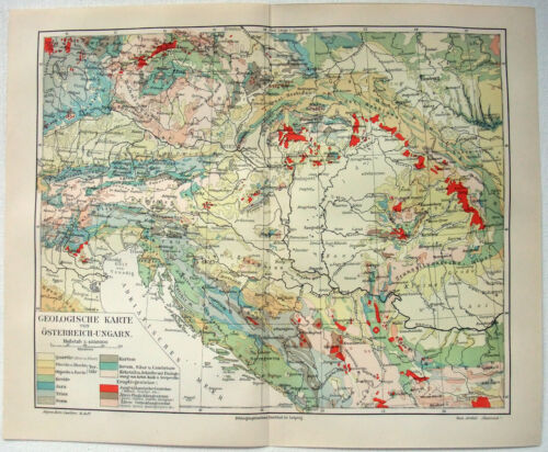 Original 1908 Geological Map of Austria Hungary by Meyers. Osterreich