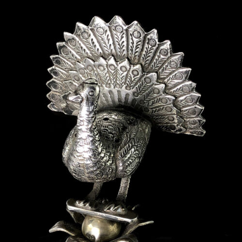 FLAMBOYANT ART DECO Portugal 833 Solid Silver Peacock Stand Toothpick Holder