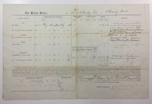 1864 Civil War US Army Pay Voucher Lt James W Bradley 3rd Cav Missouri MilitiaDocuments - 165589
