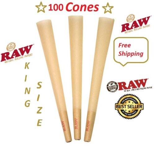 Authentic Raw King Size pre rolled Cones W/Filter tips (100 CONES) Free Shipping <br/> Free Shipping US SELLER
