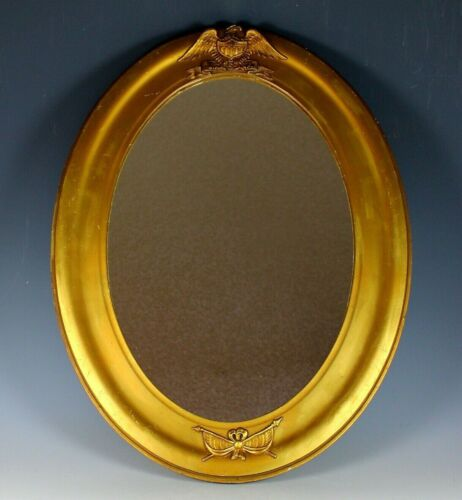 Unusual Vintage Gilded Wood Federal Style Mirror with Eagle and USA