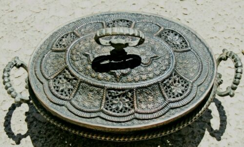 Antique Ornate Hand Wrought Brass Persian Middle Eastern Brazier Heater Incense
