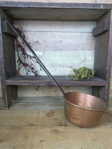 Early Antique Copper Ladle Dipper & Wrought Iron Handle