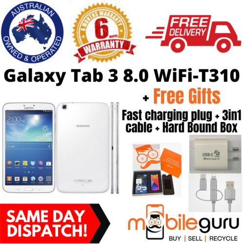 Samsung Galaxy Tab 3 8.0 WiFi 32GB White T310 USED Unlocked Genuine AU Stock Tab