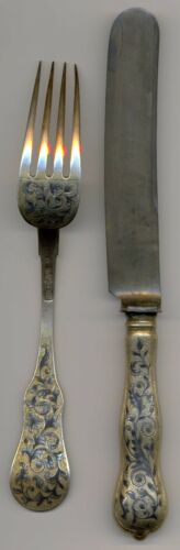 Russian Imperial Silver 84 Gilt Niello Dinner Fork & Knife Moscow 1846 Maker ee