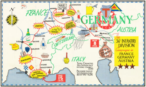 """Map of 36th Infantry Division in France, Germany, Austria. 9""""x16"""" Military Print"""