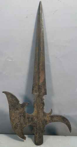 Antique MEDIEVAL Style HALBERD Style AXE Old VICTORIAN Iron WALL DECOR