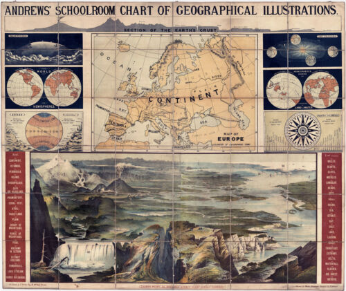 """1915 Schoolroom Chart Map of Geographical Illustrations Gifts Teacher 11""""x14"""""""