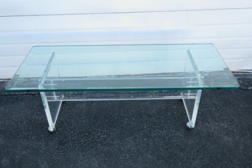 Mid Century Modern Lucite Acrylic and Glass Top Coffee Table 1901