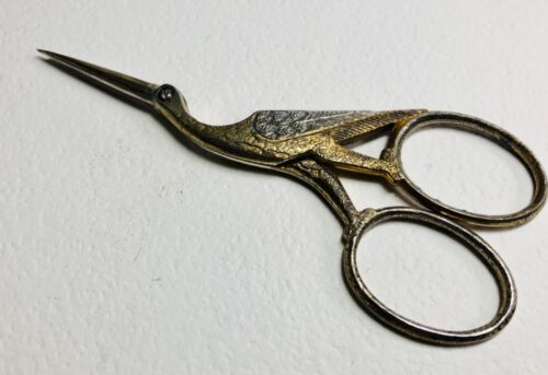 Gold & Silver BIRD SEWING EMBROIDERY SCISSORS, Signed Germany ~ stork or heron