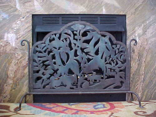 Antique Arts & Crafts Mission Wrought Iron Steel Fireplace Screen
