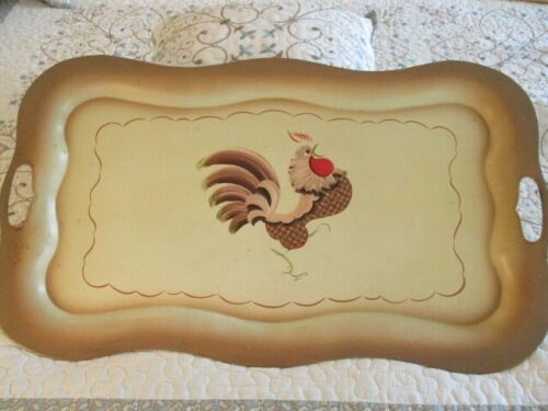 Large Hand Painted Shabby Unique & Chic Tan Country Kitchen Rooster Tole Tray