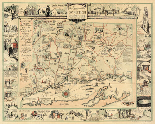 """1935 Pictorial Historic Map Commonwealth of Connecticut Wall Art Poster 11""""x14"""""""