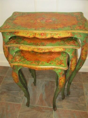 Outstanding Rare Hand Tole Painted Floral Set Italian Wood 1920's Nesting Tables