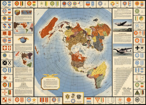 """Global War and Peace Map Azimuthal Equidistant 11""""x16""""  Flat Earth Poster Print"""
