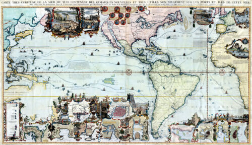 """1719 Map The Americas Pacific Ocean Henri Abraham Chatelain 9""""x16""""Wall Poster"""