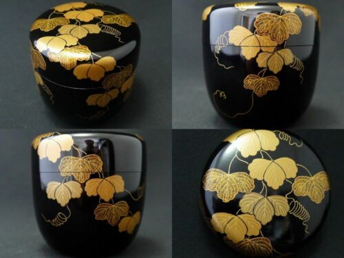 Japanese Traditional Lacquer Wooden Tea caddy IVY makie Chu-Natsume (414)