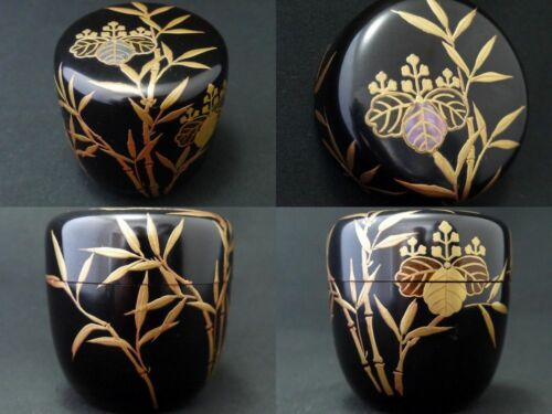 Japan Lacquer Wooden Tea caddy Bamboo and Paulownia design makie Natsume (409)