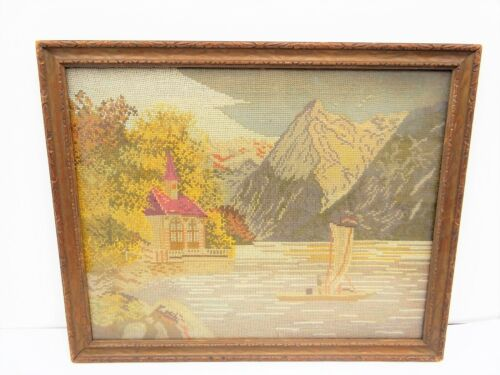 Vintage Ocean Church Mountains Wood Framed Hanging Wall Needlepoint Tapestry Art