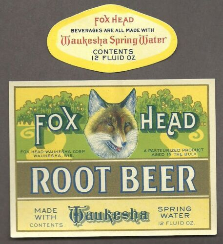 Fox Head Root Beer label, Waukesha, WI, prohibition, pre IRTP, 12 ouce