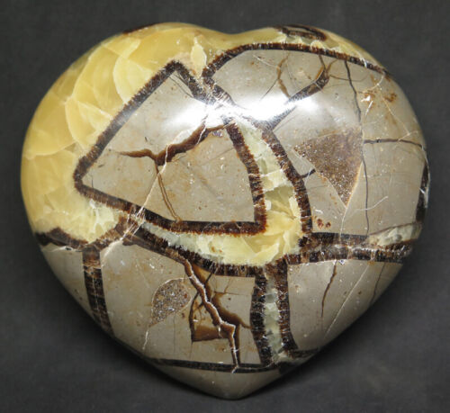 89mm Natural Septarian FOSSIL Dragon Stone Geode Calcite Crystal Carving Heart