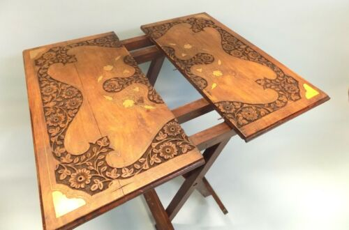 Antique Colonial Teak and Brass Inlaid Campaign Folding Table. English Raj.