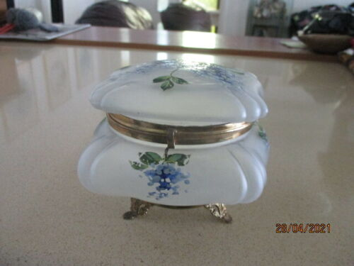 Victorian Glass Hand Painted Powder Box Tri-footed Brass Pedestal Base