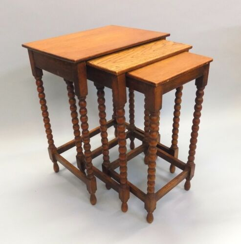 English Antique Oak Set of Three Nesting Tables. Bobbin Turnings. Rare to Find.