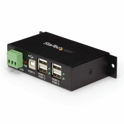 Star Tech 4-Port Industrial USB 2.0 Hub w/ ESD Protection 480Mbps PC/Laptop BLK