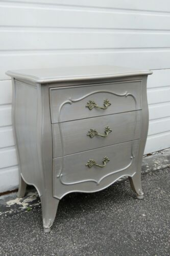 French Painted Silver Gray Nightstand End Side Table 2018