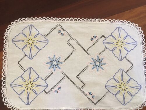 Vintage linen hand embroidered retro blue flowers Centrepiece Doily tray cloth