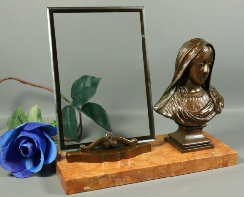 French ART DECO Bronzed Spelter Saint Virgin Mary Statue w/ Picture Frame Signed