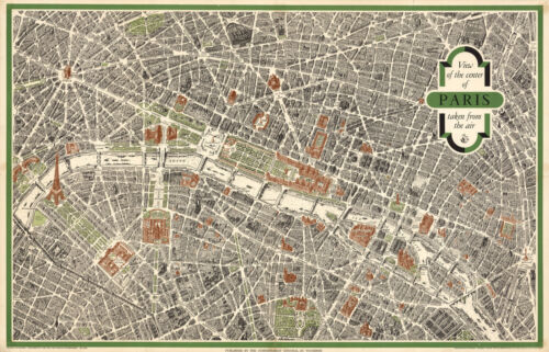 """Historic Map Central Paris View Taken from the Air Wall Art Poster Print 10""""x16"""""""