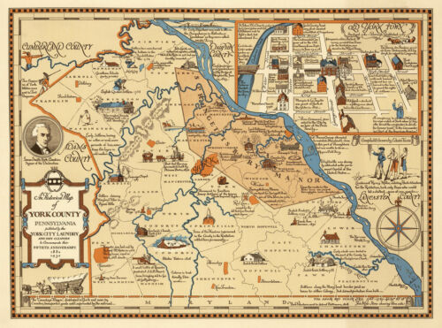 1932 Pictorial Historical Map of York County, Pennsylvania Wall Art Poster 11x15