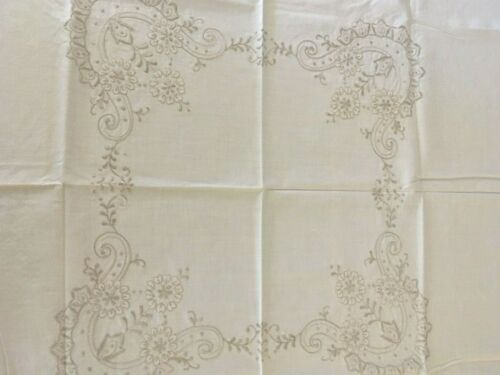 Vintage Cream Cotton Beige Embroidered Flowers Small Tablecloth Craft or Use Exc