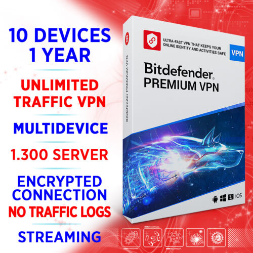 Bitdefender Premium VPN unlimited 2021 10 devices 1 year / Win Mac Android iOS