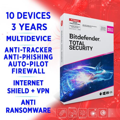 Bitdefender Total Security 2021 Multidevice 10 devices 3 years FULL EDITION +VPN
