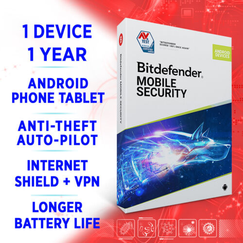 Bitdefender Mobile Security for ANDROID 2021 + VPN 1 device 1 year