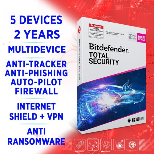 Bitdefender Total Security 2021 Multidevice 5 devices 2 years, FULL EDITION +VPN