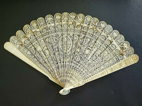 👍 19TH CENTURY CHINA CHINESE IMPERIAL QING CANTON FAN PAGODA BIRD INSECT FLOWER
