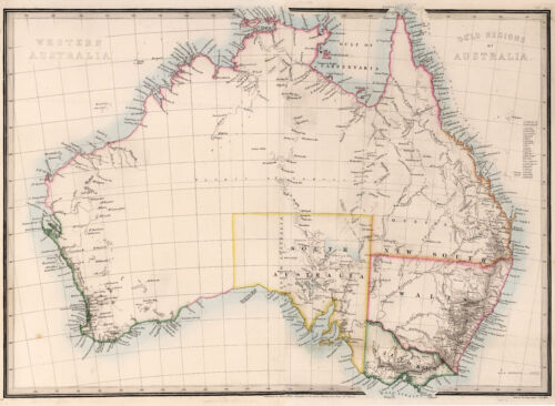 "1864 Australia Map Gold Regions Mining Home School Wall Poster 11""x15"" History"