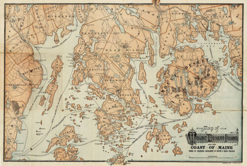 1890 Map Mount Desert Island and Coast Of Maine Steamship Wall Art Poster 11x16